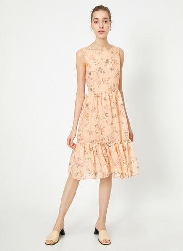 Koton Çiçek Desenli Midi Elbise Pembe